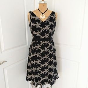 Ann Taylor Black and White Print Fit & Flare Dress